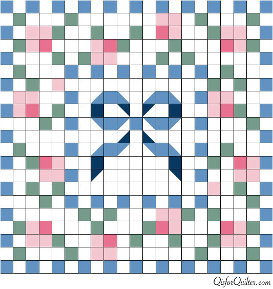 Quilt Grid Template Anne orr Mosaic Rose Quilt Pattern Q is for Quilter