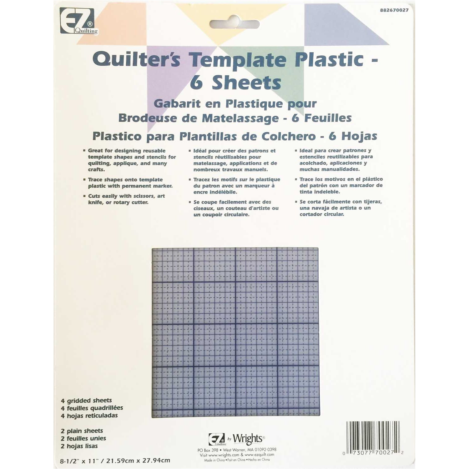 ez quilting quilters template plastic assortment 6 sheets