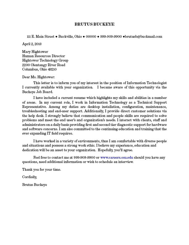 Quintcareers Cover Letter Resumes and Cover Letters the Ohio State University