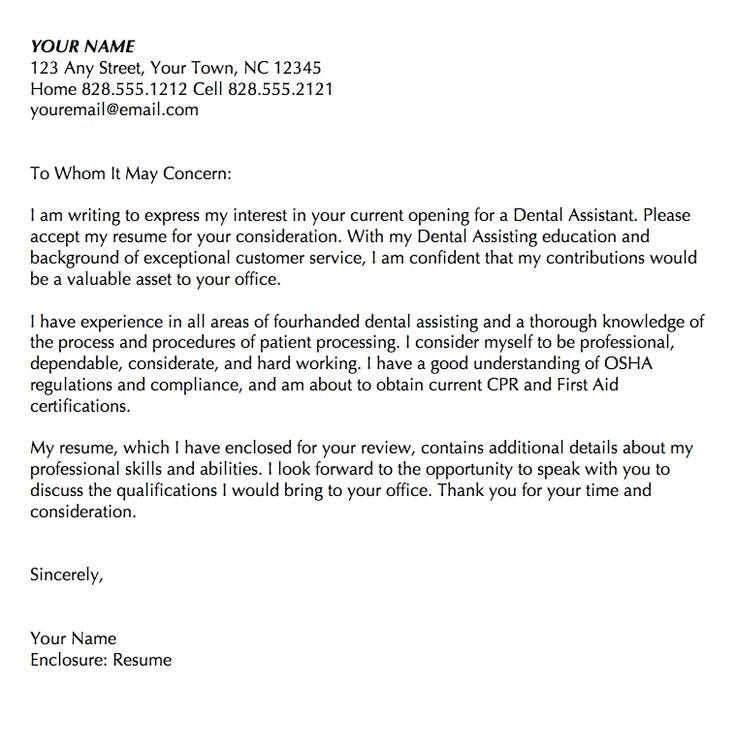 Rda Cover Letter Cover Letter Dental assistant Letters Font
