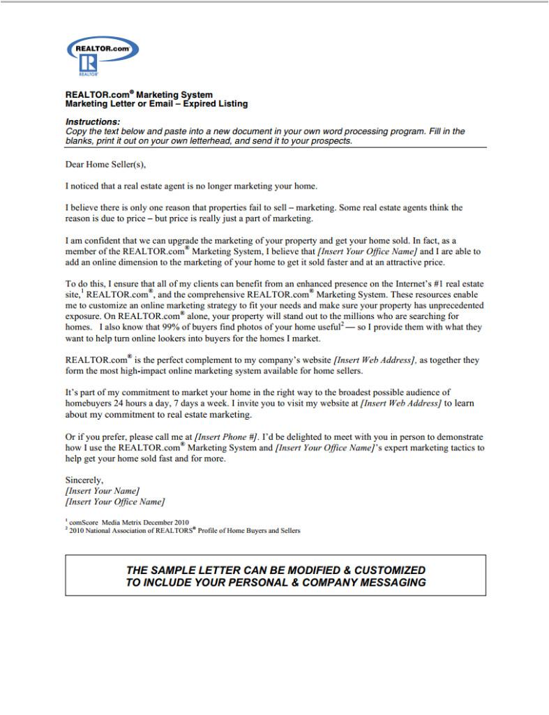 expired listing letter