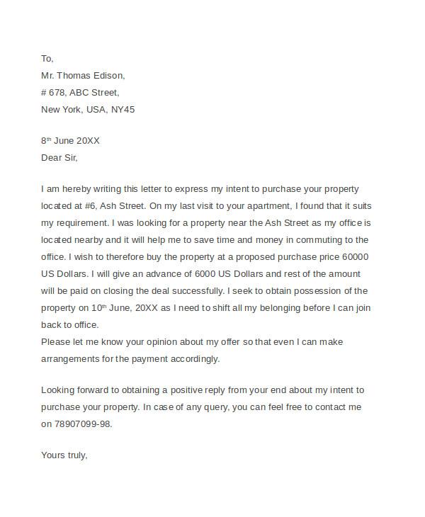 real estate offer letter