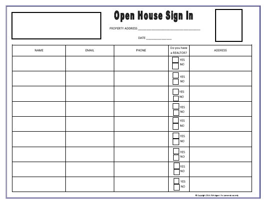 open house sign in sheet blue tools for