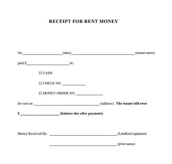 sample money receipt