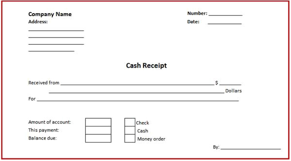 money or cash receipt format for microsoft word template