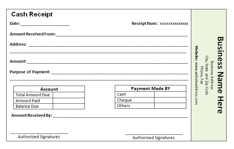 free receipt payment templates