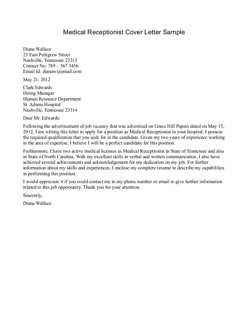 Reception Cover Letter Template Medical Receptionist Cover Letter Sample Cover Letters