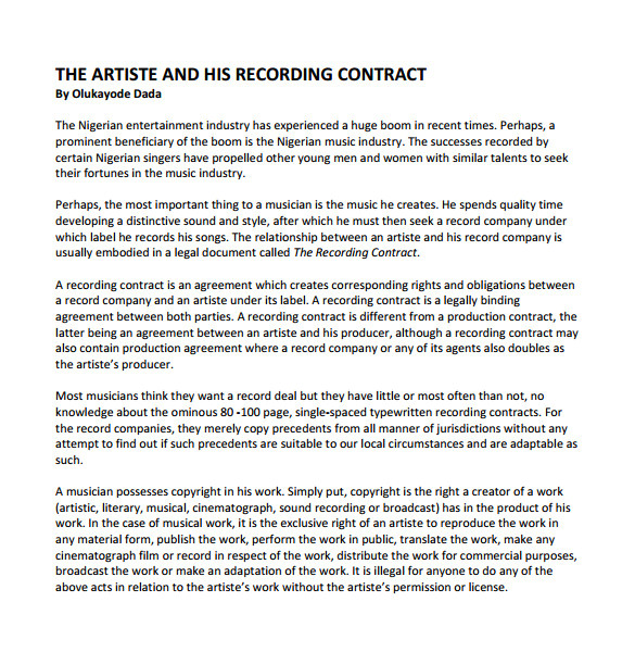 recording contract template