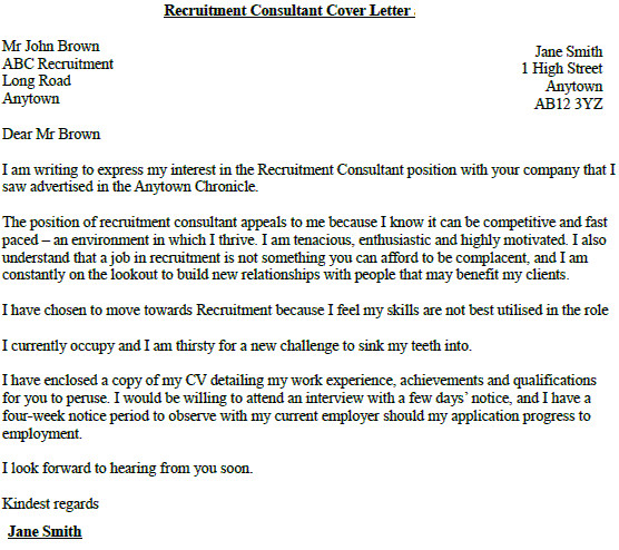 Recruitment Consultant Cover Letter No Experience Recruitment Consultant Cover Letter Example Lettercv Com