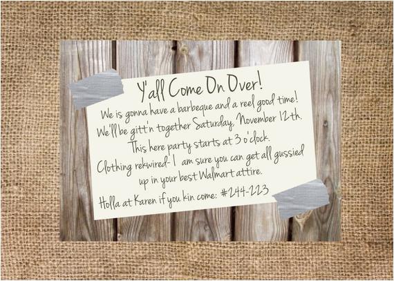 redneck party invitation personalized