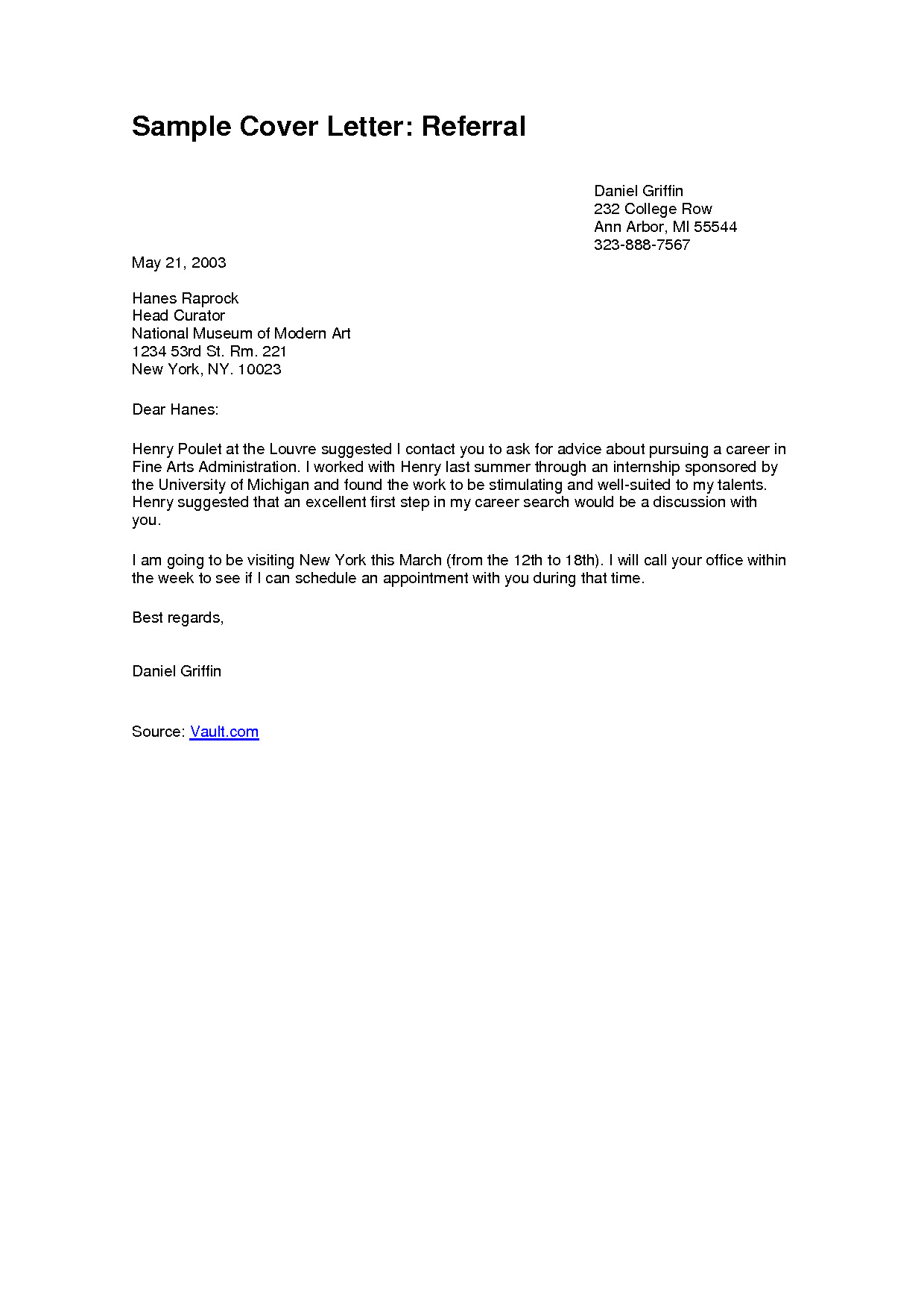 Referred by A Friend Cover Letter Referral Cover Letter Project Scope Template