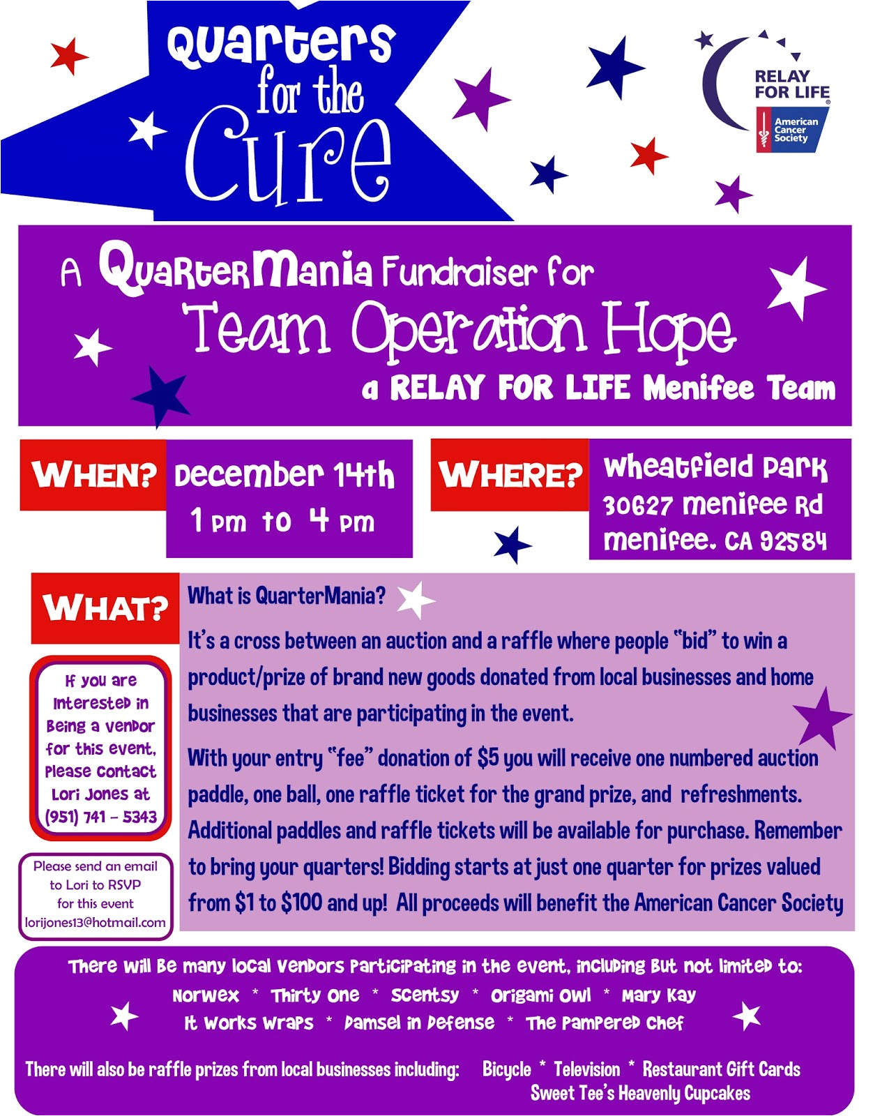 menifee relay for life fundraiser dec 14