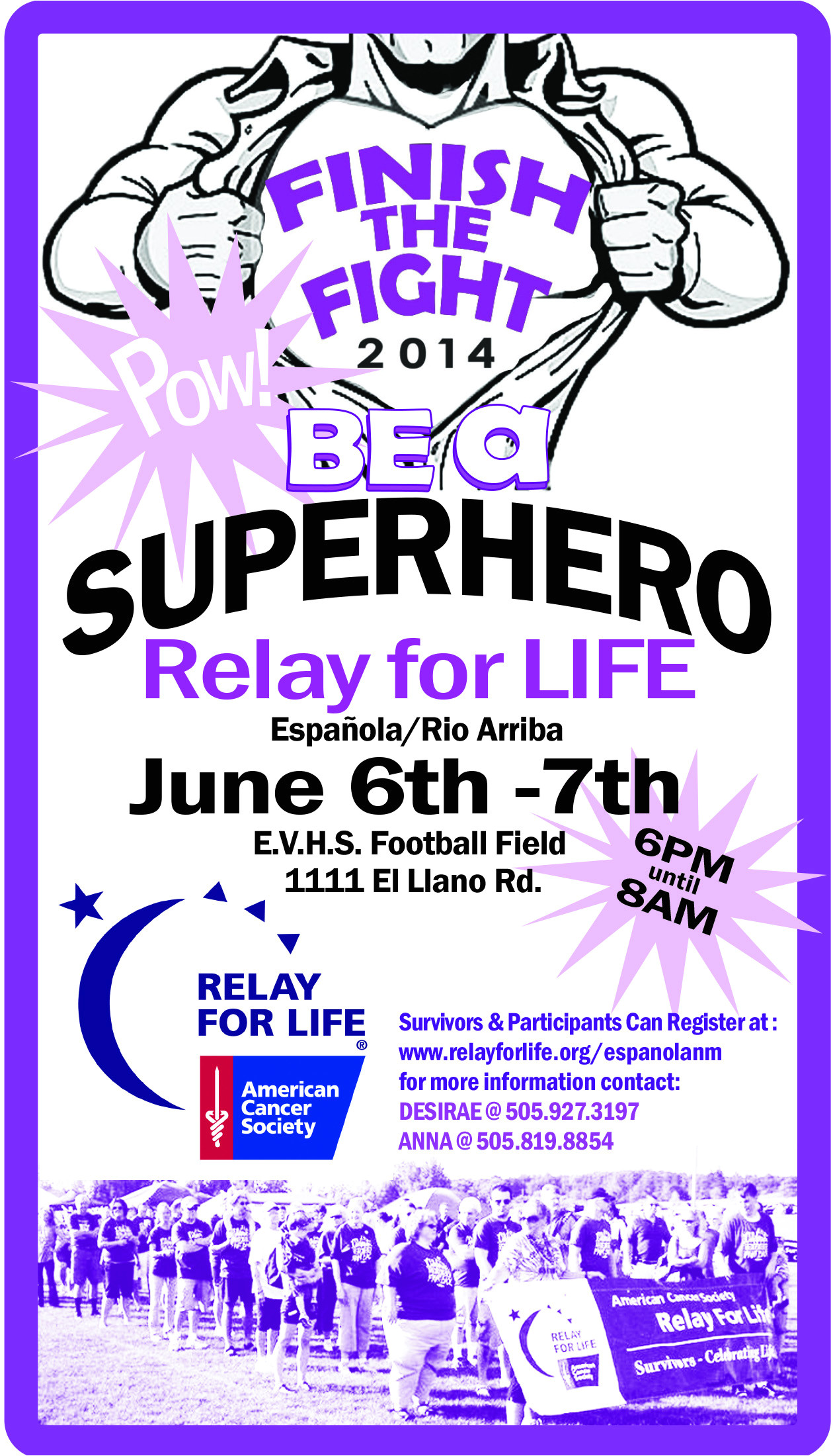 relay for life superhero themed advertisement for the local