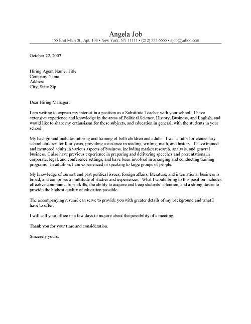 Relief Teacher Cover Letter Cover Letter Template for Resume for Teachers Substitute