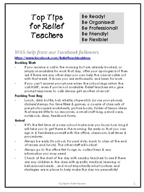 Relief Teacher Cover Letter Teacher Tips Relief Teaching Ideas Page 2
