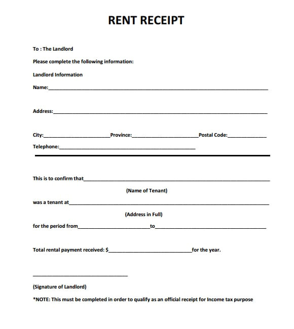 Rent Reciept Template 6 Free Rent Receipt Templates Excel Pdf formats