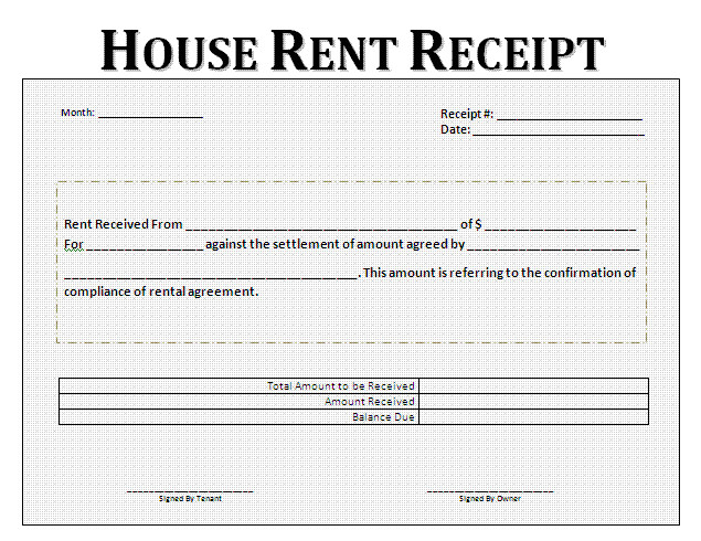 rent receipt format for house and property