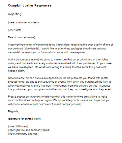 respond to a complaint letter template