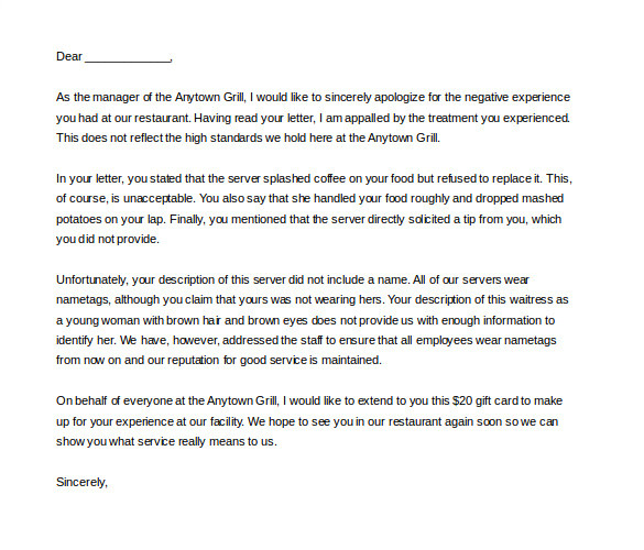 sample reply complaint letter for bad service