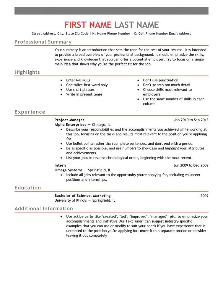 Reseme Template Free Professional Resume Templates Livecareer