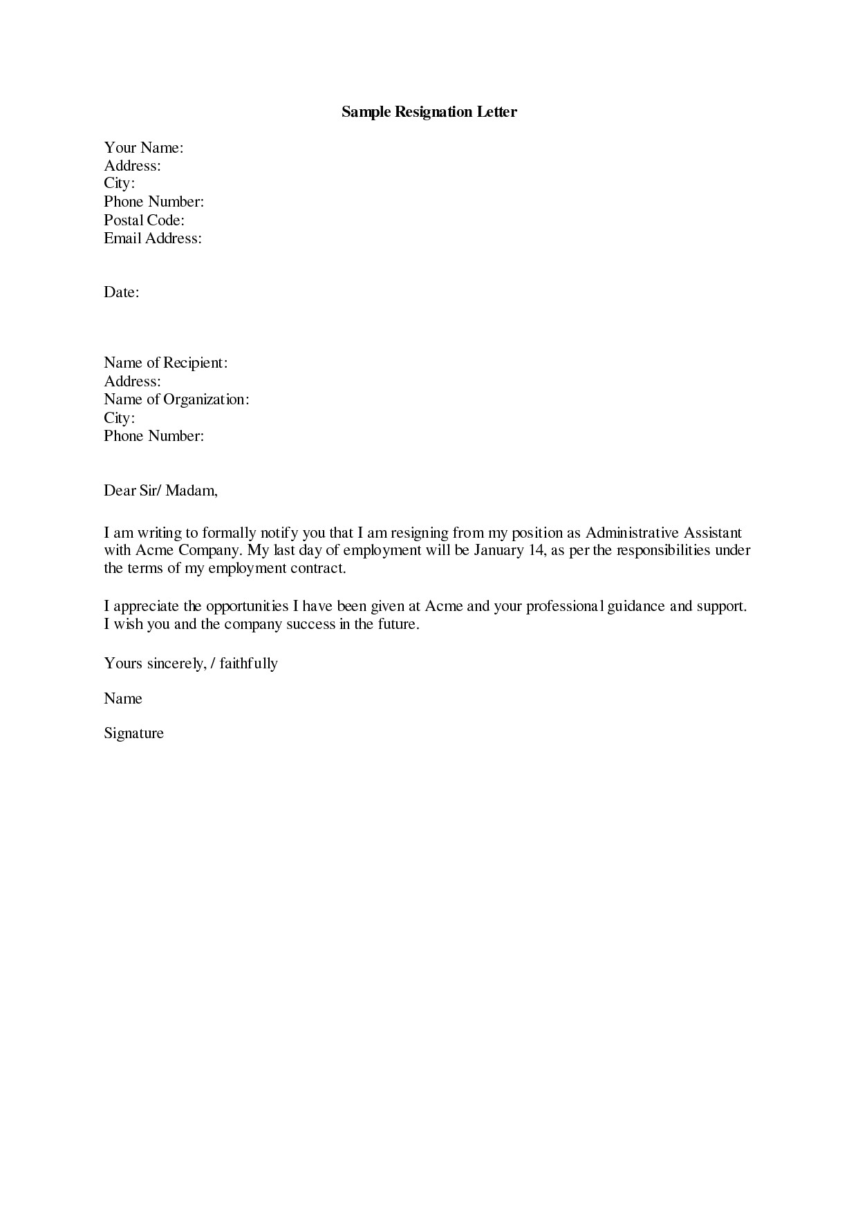 Resignations Letter Template Dos and Don 39 Ts for A Resignation Letter