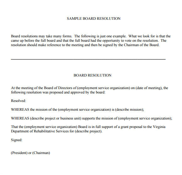 Resolution Of Trustees Template 6 Board Resolution Samples Pdf Doc Sample Templates