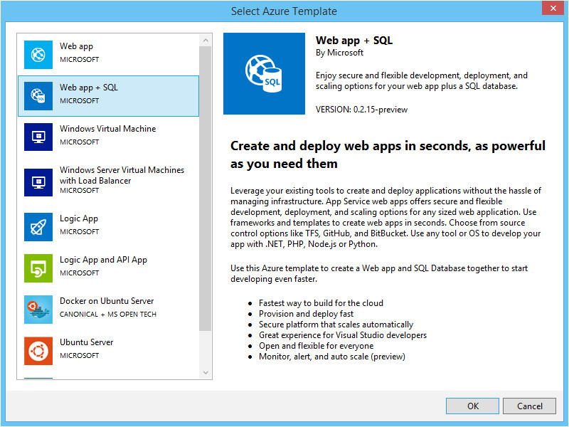 azure resource manager 2 5 for visual studio