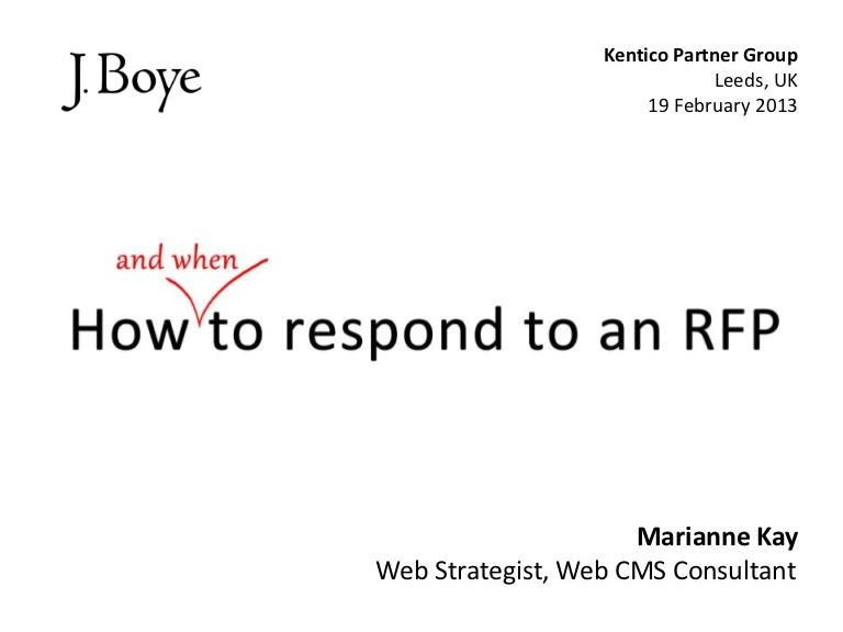 Respond to Rfp Template How to Respond to An Rfp