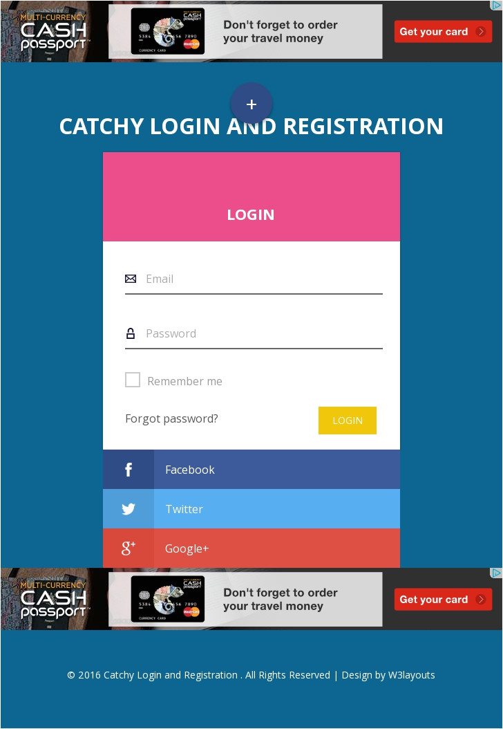 Responsive Stylesheet Template Catchy Login and Registration Flat Responsive Widget