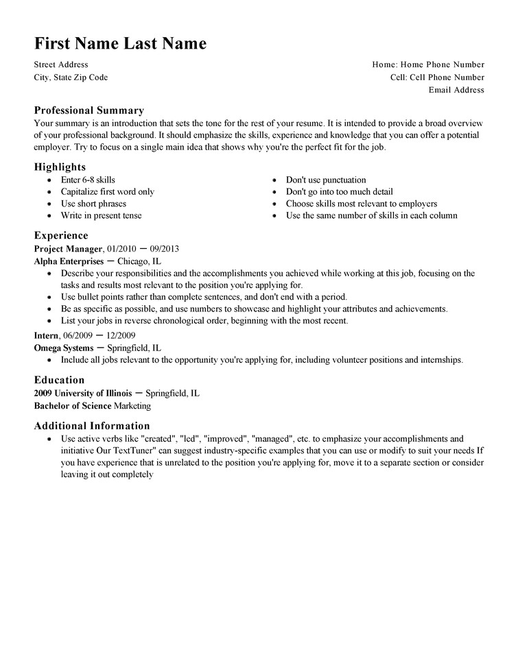 Resuem Template Free Professional Resume Templates Livecareer