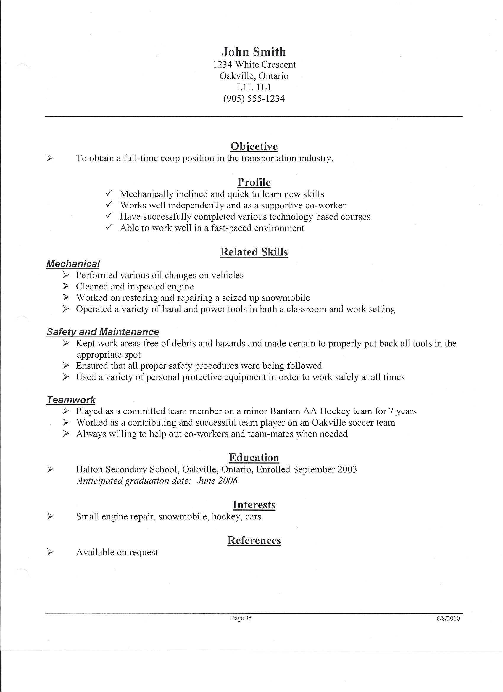 tim hortons resume