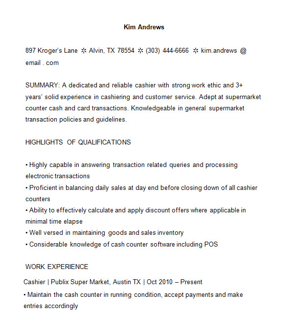 cashier resume templates