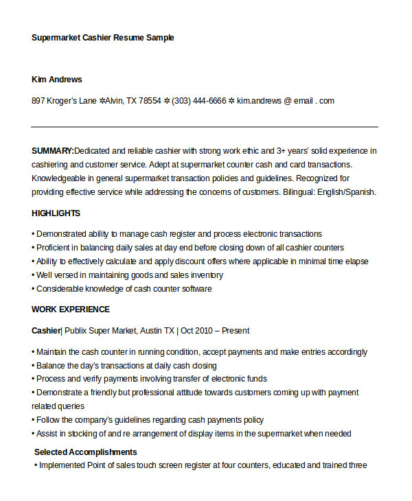example cashier resume