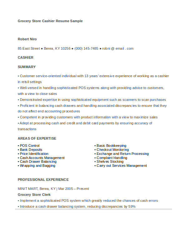 Resume Sample for Cashier at A Supermarket 6 Cashier Resume Templates Pdf Doc Free Premium