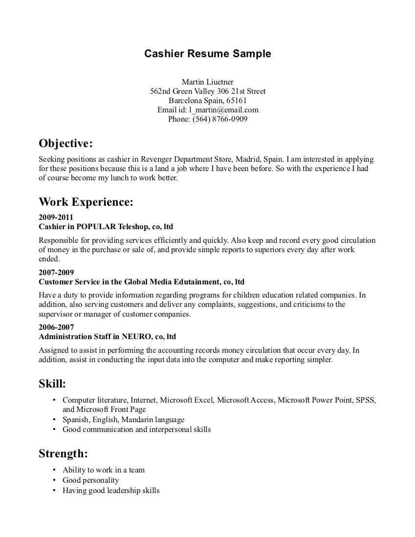 Resume Sample for Cashier at A Supermarket Cashier Resume Sample Sample Resumes