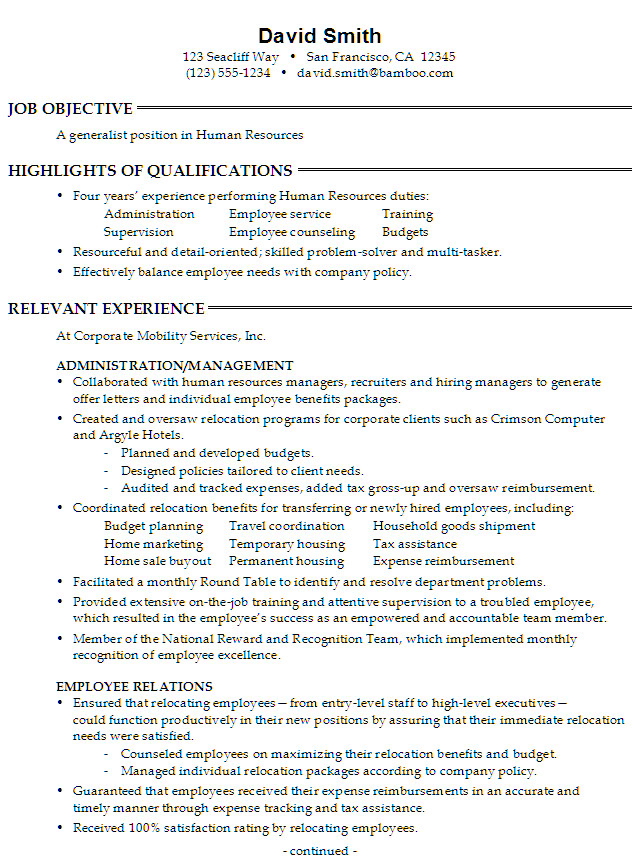 generalist position in human resources