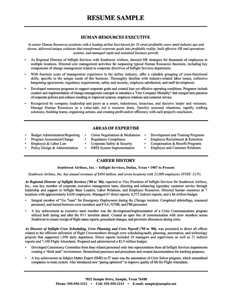 sample human resources manager resume