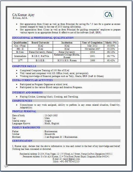 resume format for articleship