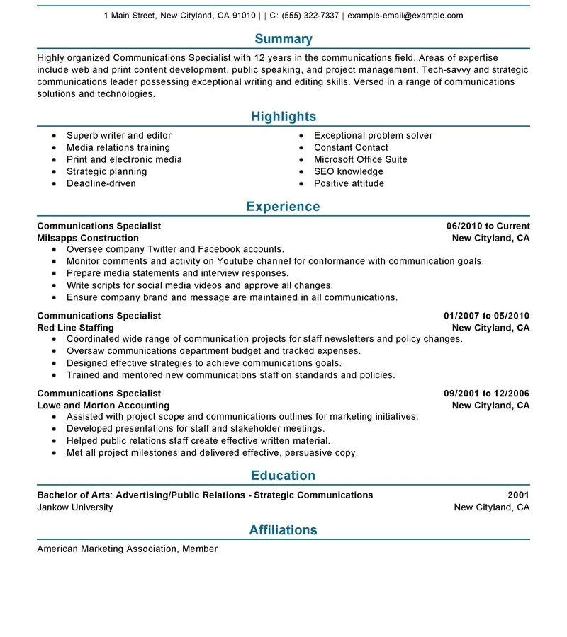 resume for college interview