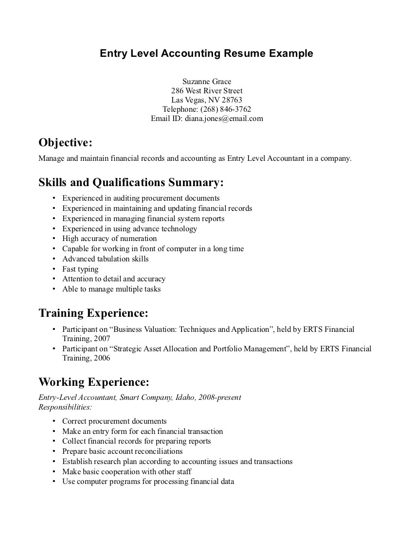 entry level accounting jobs resume no experience entry level accounting resume no experience suzanne grace