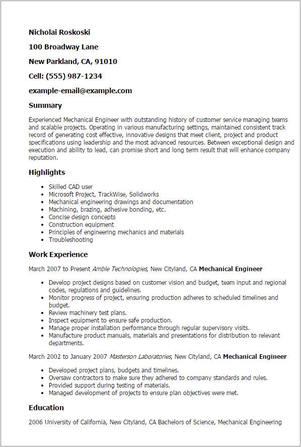 experienced mechanical engineer 2