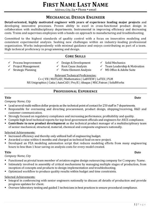 mechanical design engineer resume sample
