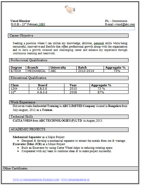 Resume Samples for Freshers Mechanical Engineers Free Download Over 10000 Cv and Resume Samples with Free Download B