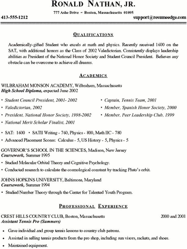 sample college resume high school senior