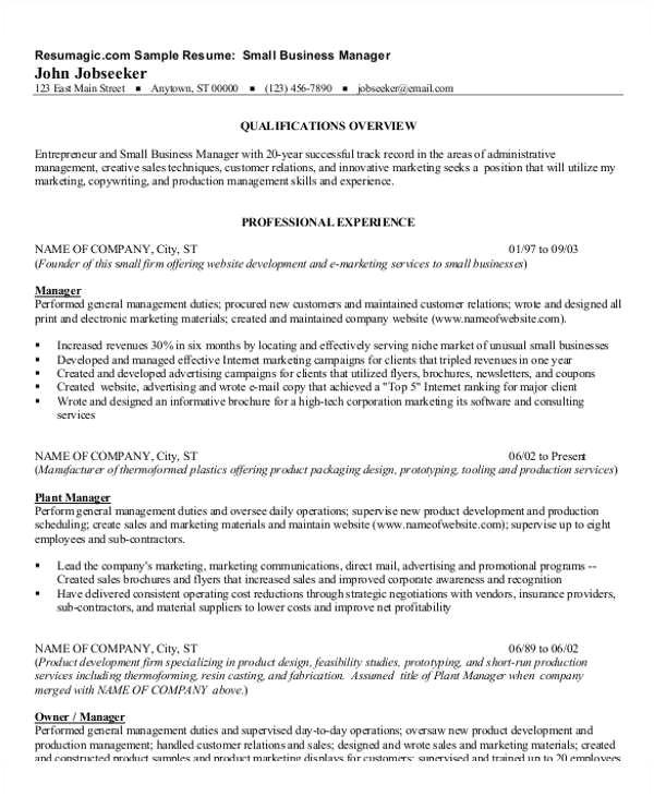 manager resume pdf