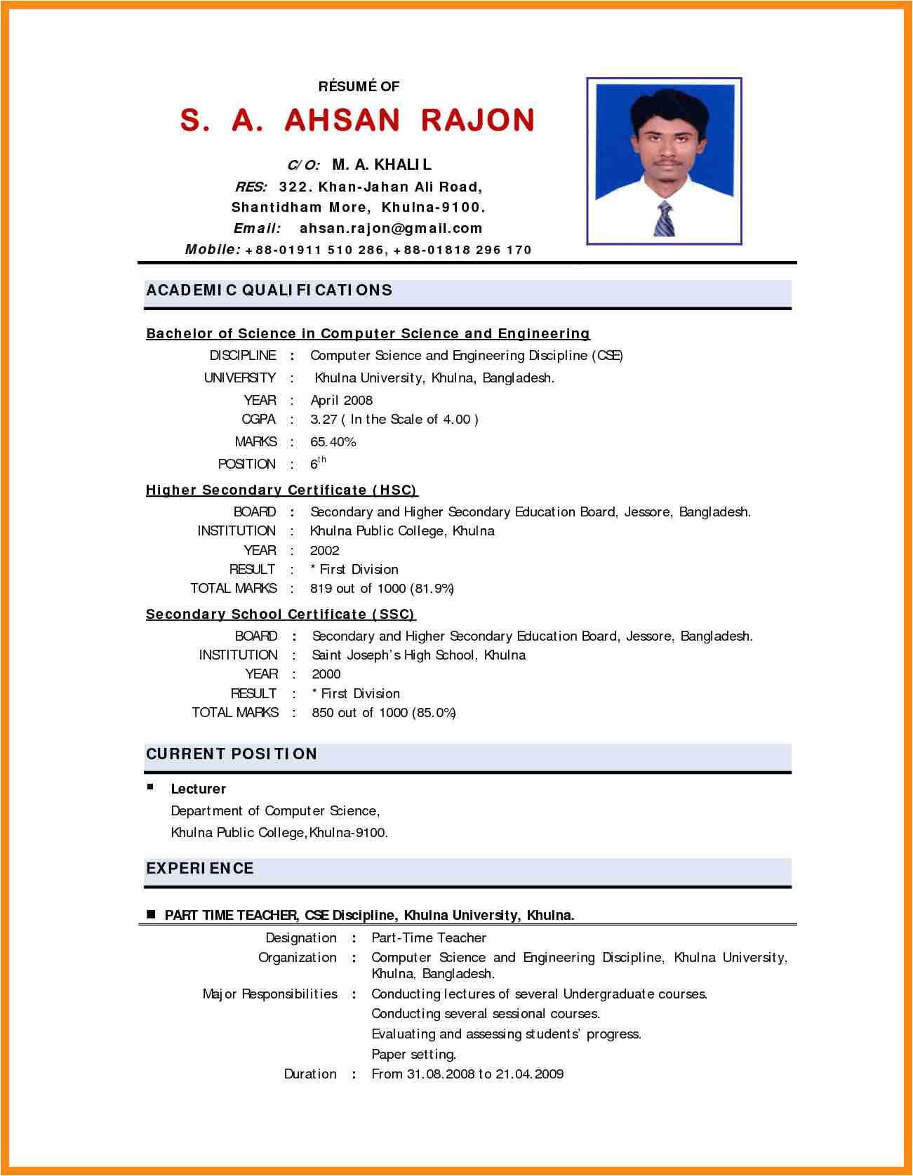 Resume Samples for Lecturer In Engineering College College Teaching Resume format Dadaji Us