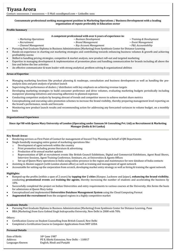 Resume Samples for Marketing Professionals 10 Marketing Resume Template Free Word Pdf Samples