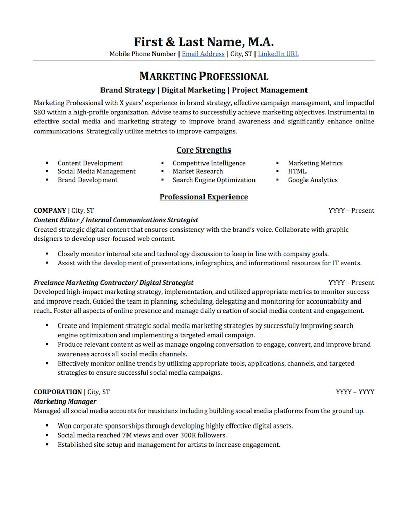 Resume Samples for Marketing Professionals Advertising Marketing Resume Sample Professional