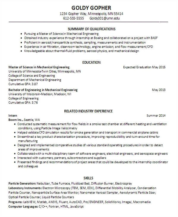mechanical engineering student resume