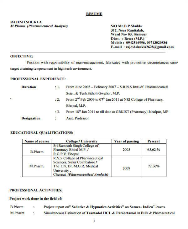 Resume Samples for Pharmacy Freshers 40 Fresher Resume Examples